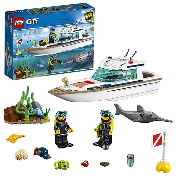 Купить LEGO City 60221 Конструктор ЛЕГО Город Транспорт: Яхта для дайвинга, Конструкторы LEGO
