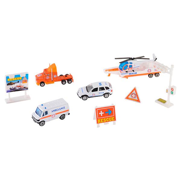 Купить Welly 98630-9B Велли Игровой набор Служба спасения - скорая помощь 9 шт, Машинка Welly