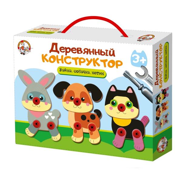 Купить Десятое Королевство TD02857 Конструктор деревянный Зайка, собачка, котик , Развивающие игрушки для малышей Десятое Королевство