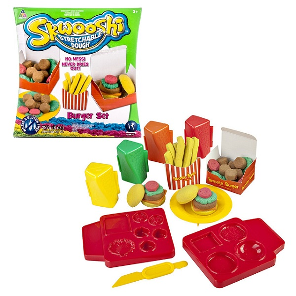 Купить Skwooshi S30021 Сквуши Набор для творчества Бургер - масса для лепки и аксессуары, Пластилин Skwooshi
