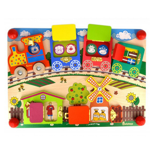 Купить Alatoys 103ALLA Бизиборд Вагончики , Развивающие игрушки для малышей Alatoys