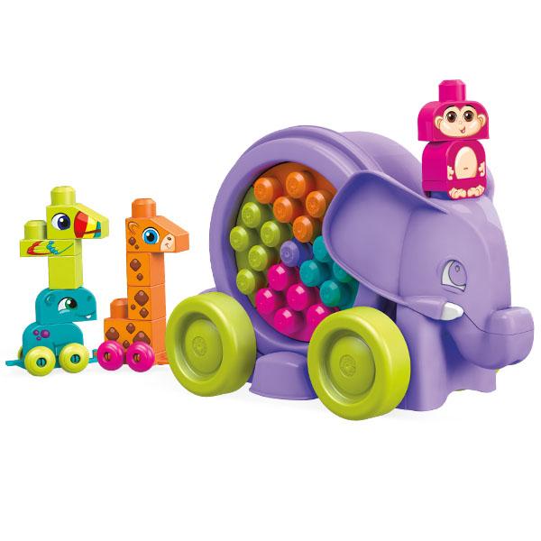 Купить Mattel Mega Bloks FFY14 Мега Блокс Неуклюжий слон розовый, Конструктор Mattel Mega Bloks
