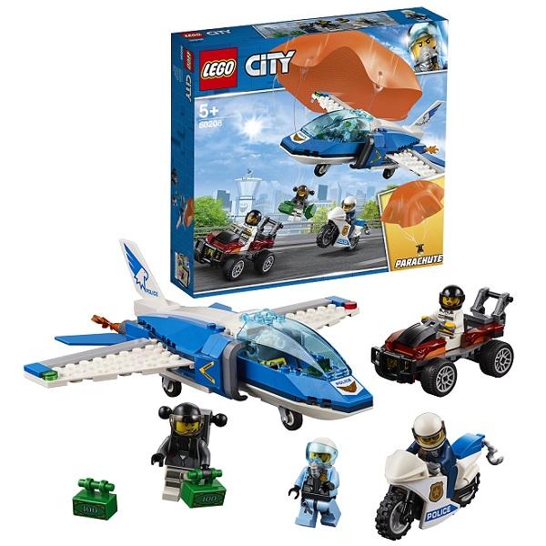 Купить LEGO City 60208 Конструктор ЛЕГО Город Воздушная полиция: Арест парашютиста, Конструкторы LEGO