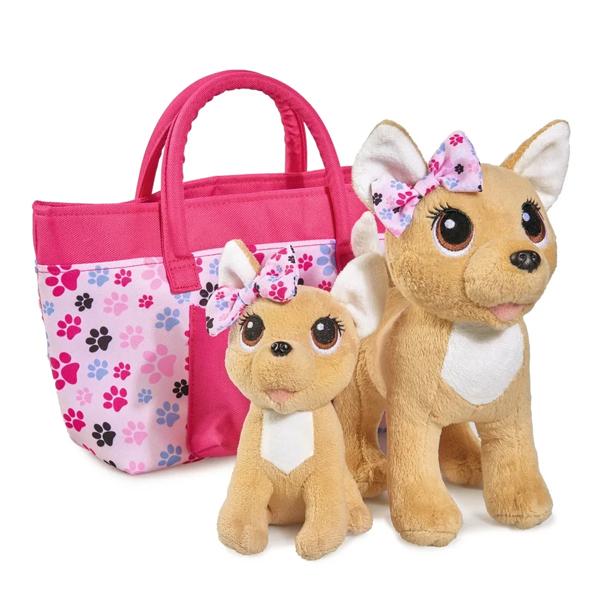 Купить Chi-Chi love 5893213129 Плюшевые собачки Счастливая семья , 2 собачки в сумочке 20 см и 14 см, Мягкие игрушки Chi-Chi love