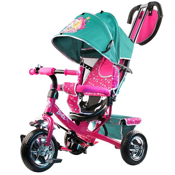 Купить BARBIE HB7TS Велосипед-коляска Barbie, колеса 10 и 8 , с руч.управ., наклонная спинка, бирюзовый, Велосипед Джамбо Тойз