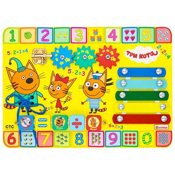 Купить Alatoys 411ALLA Бизиборд ТРИ КОТА Учим цифры , Деревянные игрушки Alatoys