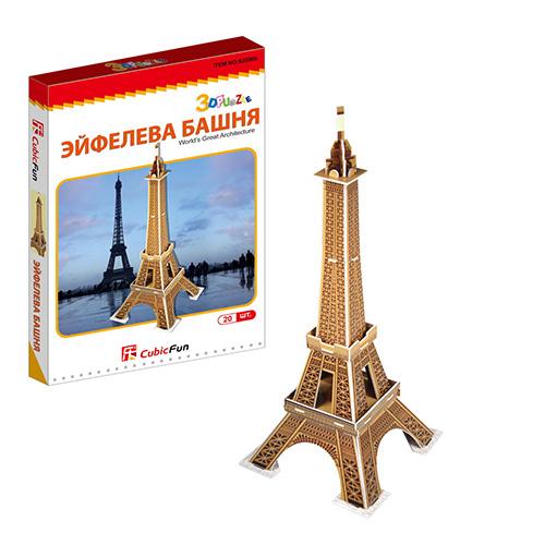 Купить Cubic Fun S3006 Кубик фан Эйфелева башня (Франция) (мини серия), 3D пазлы Cubic Fun