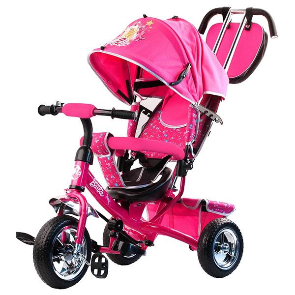 Купить BARBIE HB7PS Велосипед-коляска Barbie, колеса 10 и 8 , с руч.управ., наклонная спинка, розовый, Велосипед Джамбо Тойз