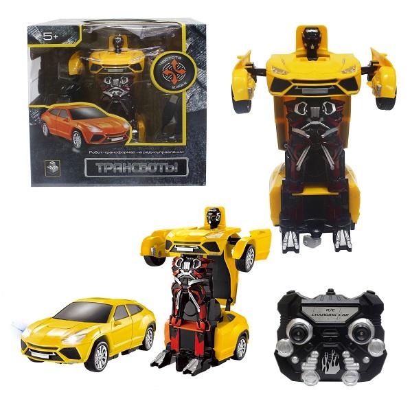 1toy T10868 Робот на р/у 2,4GHz, трансформирующийся в Легковую машину, 20 см, жёлтый по цене 1 999