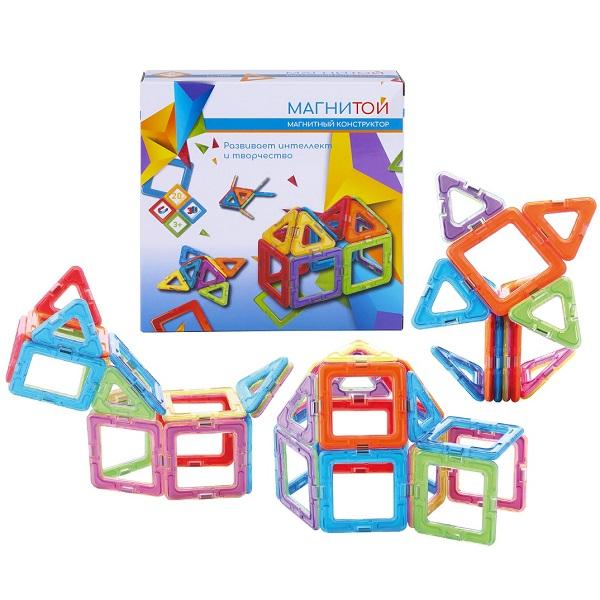 Купить Магнитой LL-1005 Конструктор магнитный 12 квадратов (6 - без окна), 8 треугольников , Конструкторы Магнитой
