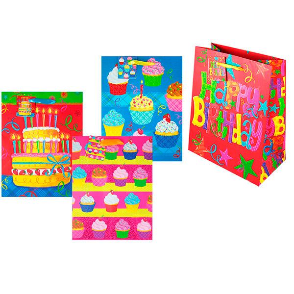Пакет подарочный бумажный День рождения TZ9474 (23*18*10 см)