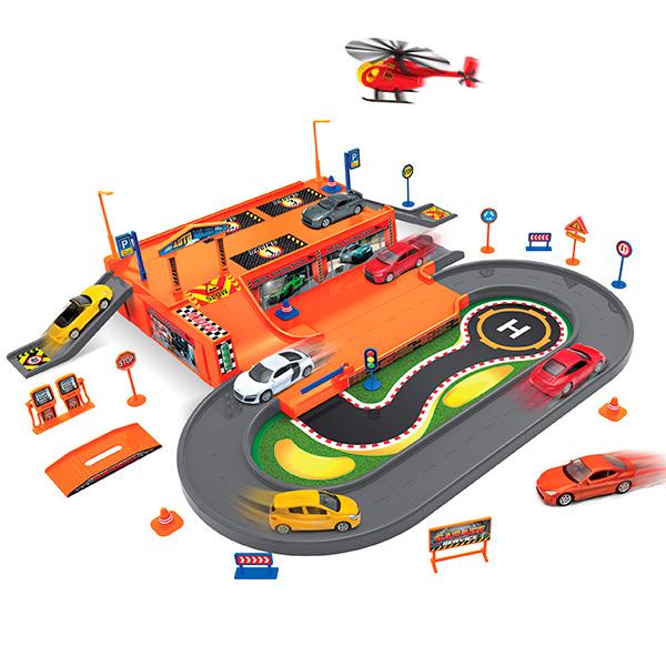 Купить Welly 96030 Велли Игровой набор Гараж, включает 3 машины и вертолет, Набор машинок Welly