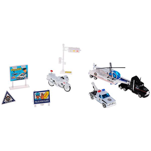 Купить Welly 98630-9A Велли Игровой набор Служба спасения - полиция 9 шт, Машинка Welly