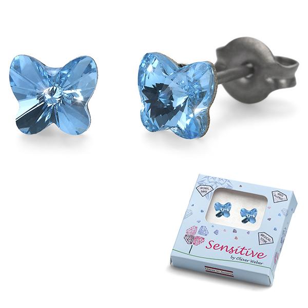 Oliver Weber S24017-202 Серьги из металла Oliver Weber Бабочки (голубые) - Косметика и аксессуары