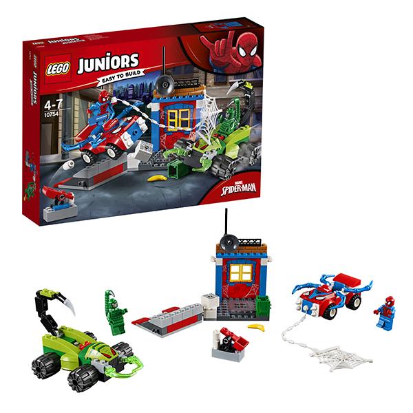 Купить LEGO Juniors 10754 Конструктор ЛЕГО Джуниорс Решающий бой Человека-паука против Скорпиона, Конструкторы LEGO