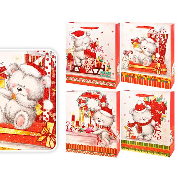 """Пакет подарочный новогодний бумажный """"Мишки"""" TZ12947 4 вида в ассортименте, 32*26*10см"""