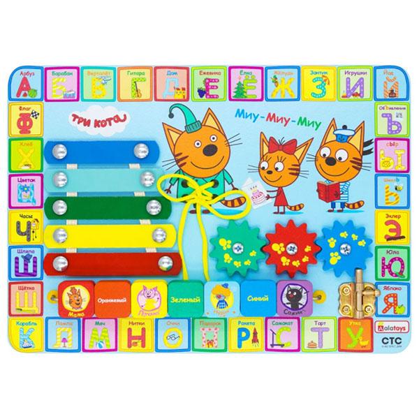"""Деревянные игрушки Alatoys 412ALLA Бизиборд ТРИ КОТА """"Учим буквы"""" фото"""