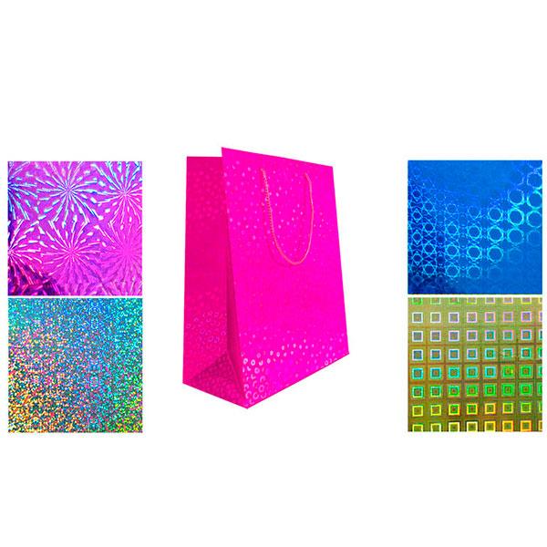 Пакет подарочный бумажный, голография TZ9518 (27*19*13 см)