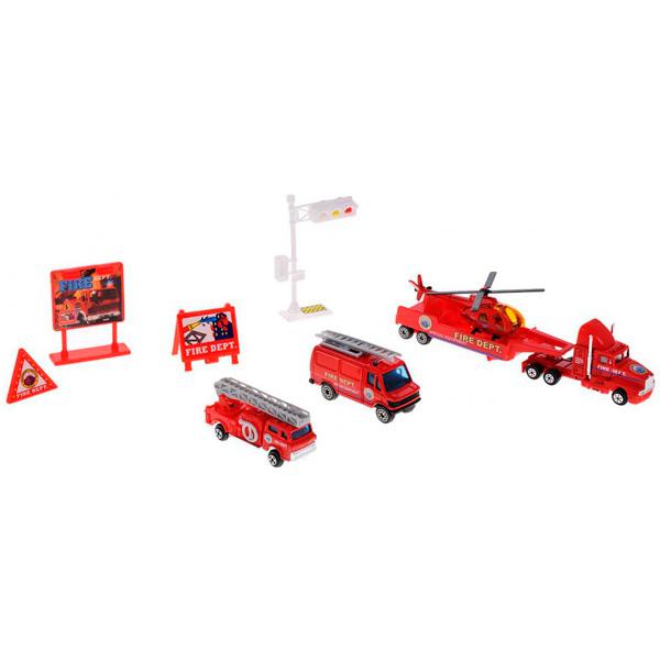 Купить Welly 98630-9C Велли Игровой набор Служба спасения - пожарная команда 9 шт, Машинка Welly