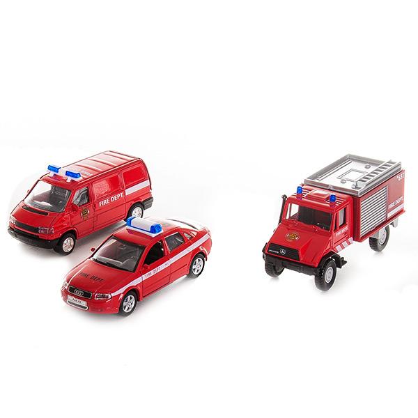 Купить Welly 99610-3C Велли Игровой набор машин Пожарная служба 3 шт, Машинка Welly