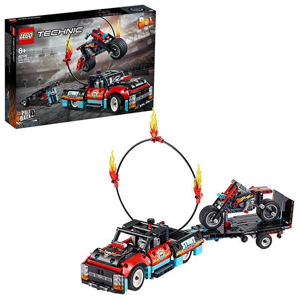 Купить LEGO Technic 42106 Конструктор ЛЕГО Техник Шоу трюков на грузовиках и мотоциклах, Конструкторы LEGO