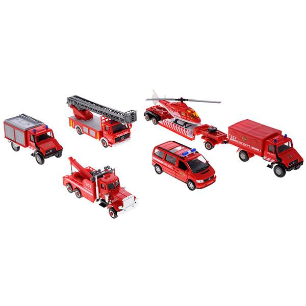 Купить Welly 99610-6B Велли Игровой набор машин Пожарная служба 6 шт, Машинка Welly