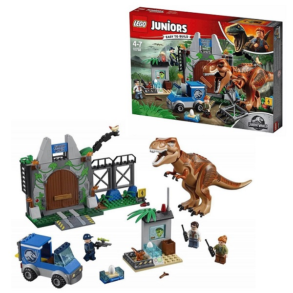 Купить Lego Juniors 10758 Конструктор Лего Джуниорс Jurassic World Побег Ти-Рекса, Конструктор LEGO