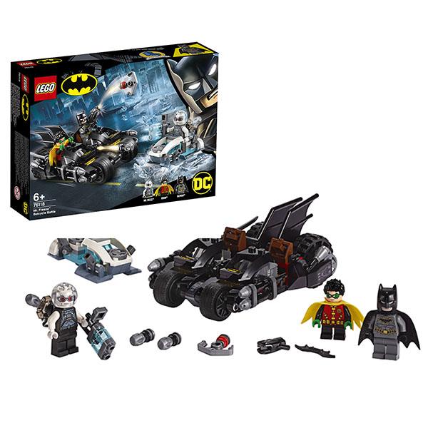 Купить LEGO Super Heroes 76118 Конструктор ЛЕГО Супер Герои Гонка на мотоциклах с Мистером Фризом, Конструкторы LEGO