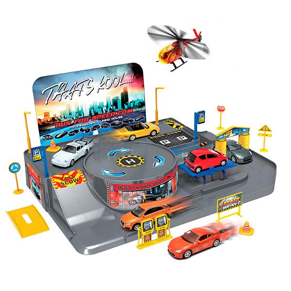 Купить Welly 96010 Велли Игровой набор Гараж, включает 3 машины и вертолет, Набор машинок Welly