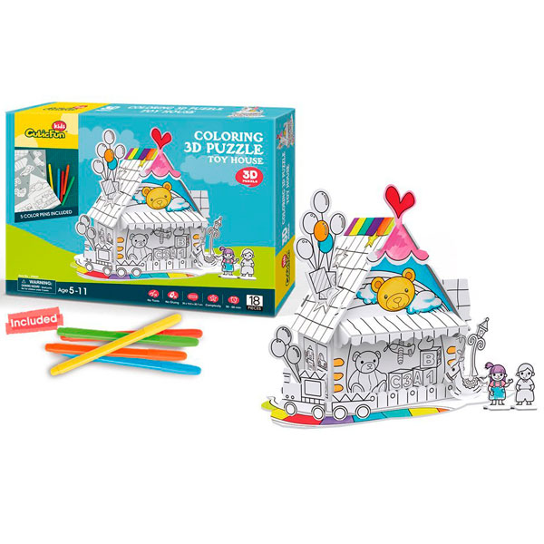 Купить Cubic Fun P693h Кубик фан Пазл-раскраска Игрушечный домик (5 фломастеров в комплекте), 3D пазлы Cubic Fun