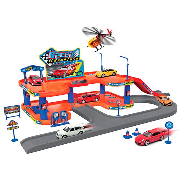 Купить Welly 96040 Велли Игровой набор Гараж, включает 3 машины и вертолет, Набор машинок Welly